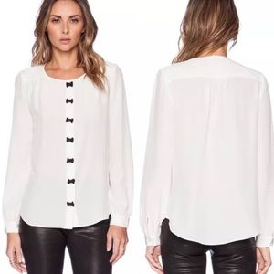 Kate Spade Bow Placket Silk Blouse Long Sleeves